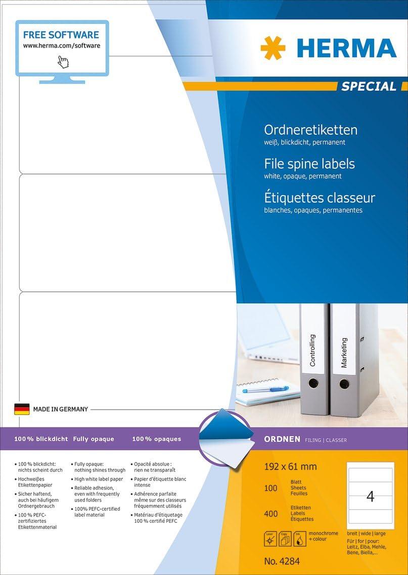 Herma 10835 /Étiquettes classeur en papier recycl/é avec Blauer Engel 192 x 61 A4 400 pi/èces Blanc
