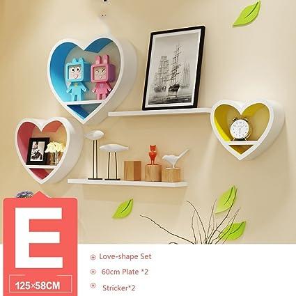 Wood Wall Corner Shelves Set Love Shape Floating Picture Display Shelf Decorative Storage