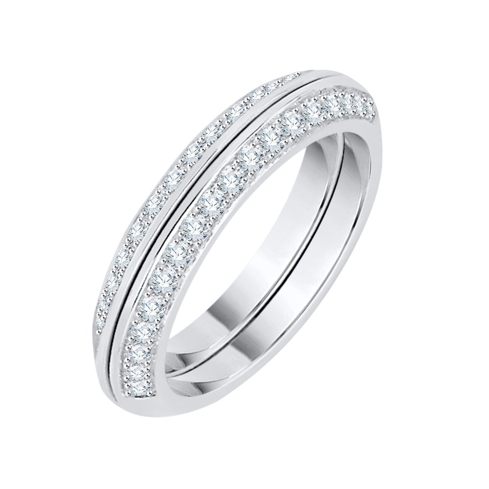 Diamond Anniversary Ring in Sterling Silver (1/2 cttw) (GH Color, I2-I3 Clarity) (Size-5.25)
