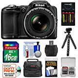 Nikon Coolpix L830 Digital Camera with 16GB Card + Batteries/Charger + Case + Tripod Kit (Certified Refurbished)