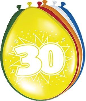 Folat 08230 - Globos de 30 cumpleaños (30 cm, 8 unidades), varios colores