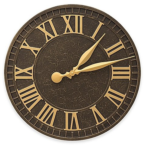 Whitehall Products 16-Inch Geneva Indoor/Outdoor Wall Clock in Aged Bronze