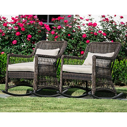 Leisure Made Pearson Outdoor Rocking Chairs, Dark Brown – 2 Pack