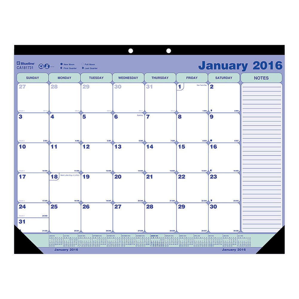 Blueline Academic Monthly Desk Pad Calendar, July 2015 to July 2016, English, 21-1/4-Inch by 16-Inch (Ca181731-2016) CA181731-16