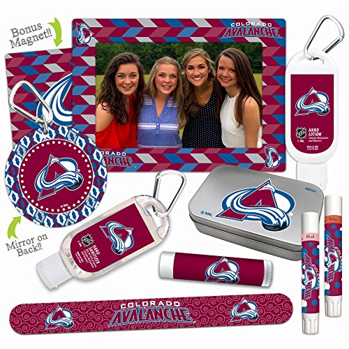 NHL Colorado Avalanche Platinum Variety Set— with 2 Lip Shimmers, Lip Balm SPF 15, Nail File, Mirror, Sanitizer, Lotion, Mint Tin, Magnetic Picture Frame. Gifts for Women, by Worthy.