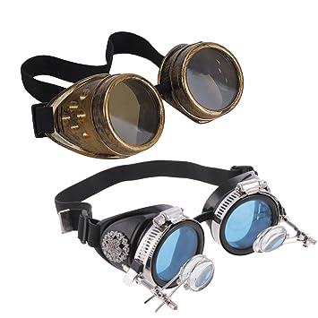 dovewill 2 piezas Vintage Steampunk gafas de lupa soldadura al aire libre proteger gafas partido Cosplay disfraz ajustable: Amazon.es: Hogar