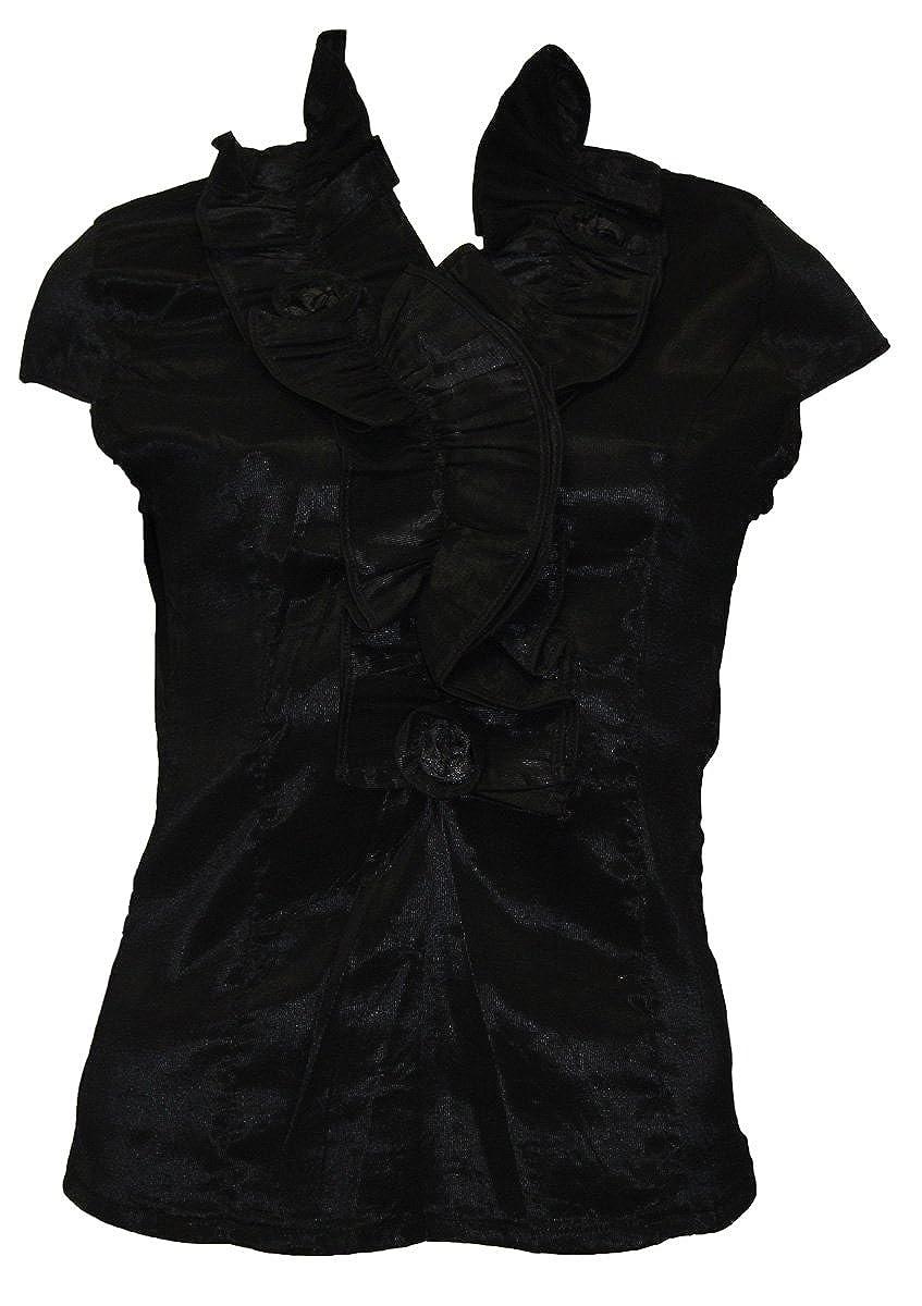 damen Modische Bluse  Rüschen Oberteil Baumwolle Fashion Bluse S M L