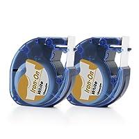 Airmall Étiquettes en Tissu Thermocollant Compatible pour DYMO LT 18771 LetraTag Imprimantes 12mm x 2M Imprimées en Noir Sur Fer Blanc Sur Vêtements 2-Packs