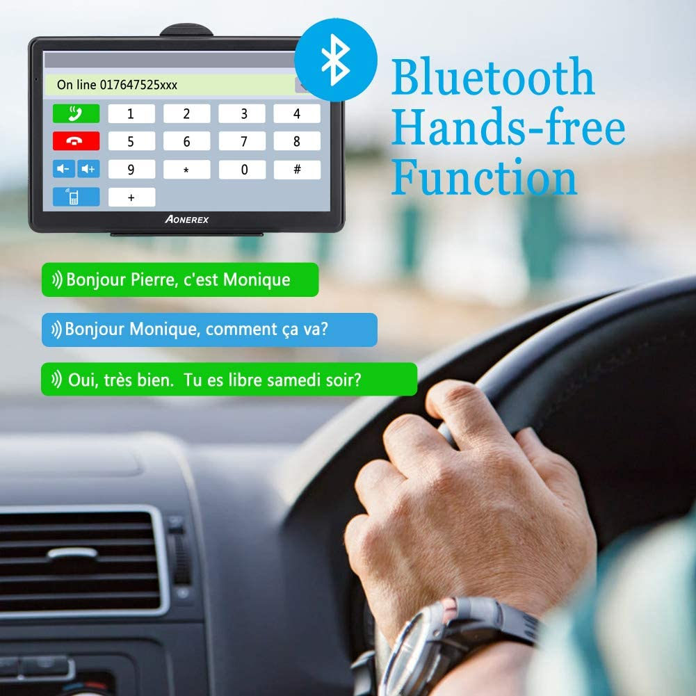 Poids Lourd 7 Pouces Navigation pour Auto Navigateur /Écran Tactile Multi-Languages Guidage Vocale 2020 Cartographie UK Europe Install/ée Mise /à Jour Gratuite /à Vie Camion GPS Voiture avec Bluetooth