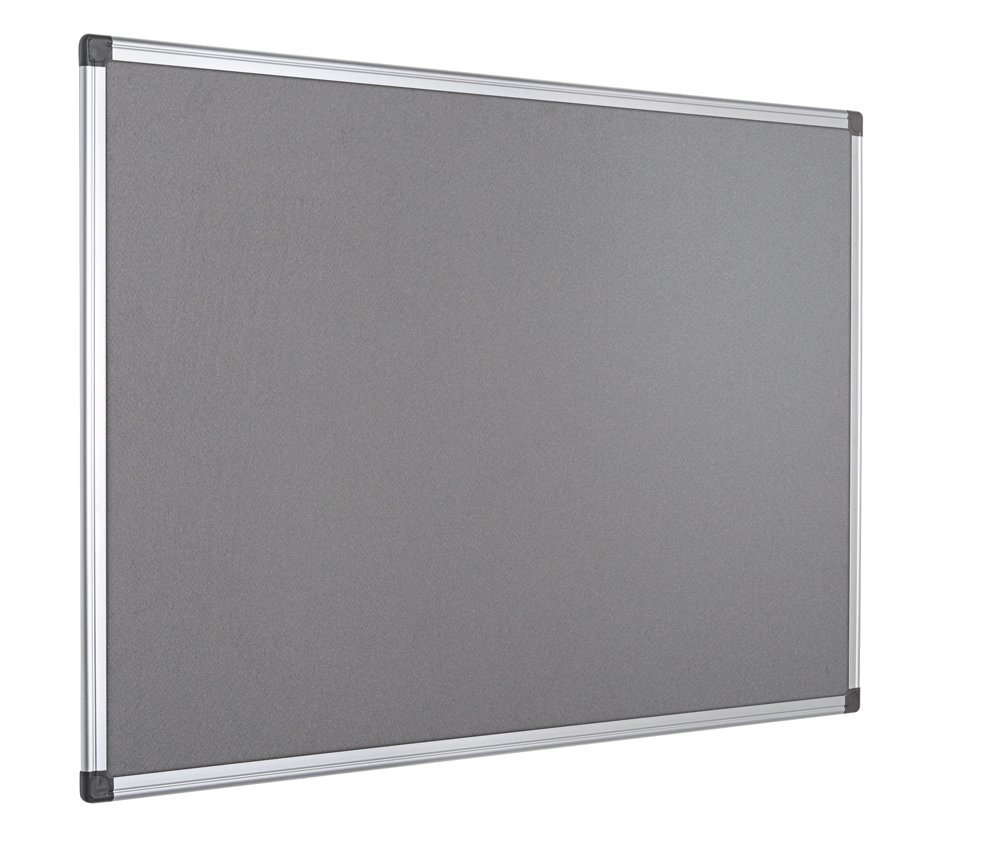 Bi-Office Notice Board Maya, Grey Felt, Aluminium Frame, 120 x 90 cm