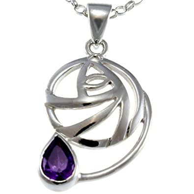 Sterling Silver & Amethyst Charles Rennie Mackintosh Pendant Necklace With 18