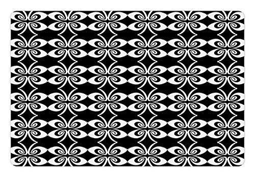 - Ambesonne Abstract Pet Mat for Food and Water, Psychedelic Torsion Design with Mirrored Pairs Op Art Symmetric Arrangement, Rectangle Non-Slip Rubber Mat for Dogs and Cats, Black and White