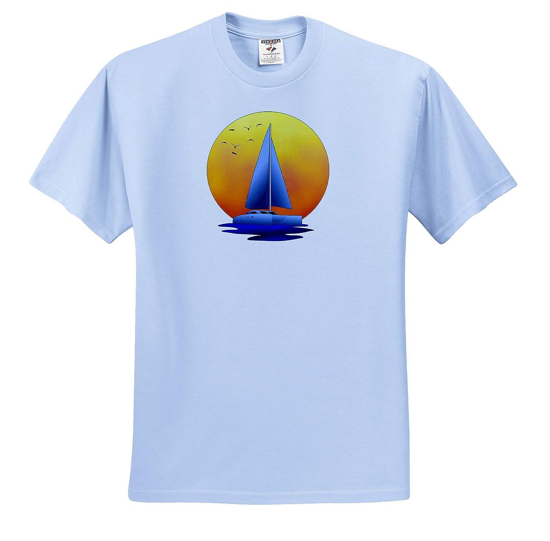 A Catamaran Sailboat Nautical Graphic in Front of a Setting Sun Nautical 3dRose Macdonald Creative Studios - T-Shirts