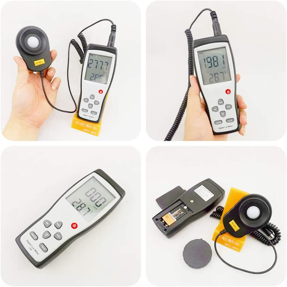 Digital Luxmeter,Digital Lux Meter Photometer Illuminometer Spectrometer Spectrophotometer High Precision Light Meter 200,000Lux