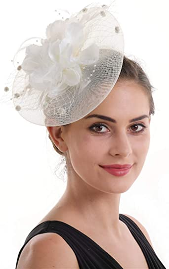 Retro Floral Polka Dot Feather Mesh Fascinator Hat on Clips Derby Race Hatinator