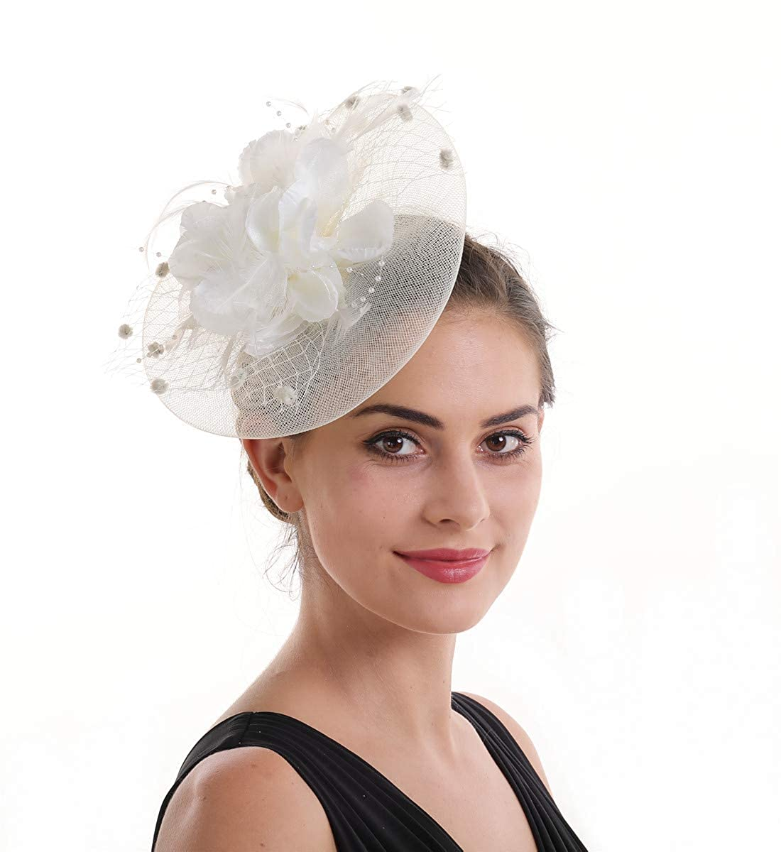 1dc13159b Fascinator Hat Feather Mesh Net Veil Party Hat Ascot Hats Flower Derby Hat  with Clip and Hairband for Women
