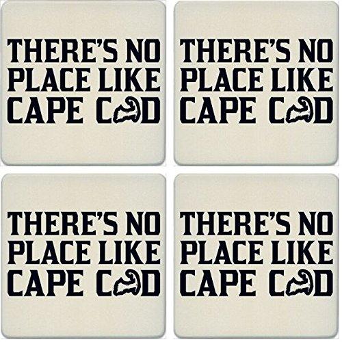 CoasterStone Absorbent Coasters (Set of 4), No Place Like Home Cape Cod, 4-1/4