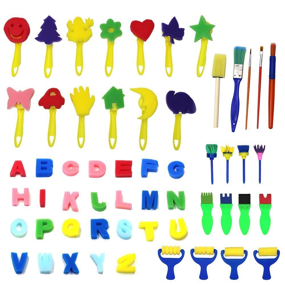 Kids Art & Craft 56 Pieces Sponge Painting Brushes Kids Painting Kits Early DIY Learning include Foam Brushes,Art Craftssponge brush, flower pattern brush, Brush set and 26 English letters Md trade