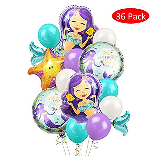 Amycute 36 pcs Sirena Globo Morado de Látex Blanco Globo Dede Papel de Aluminio Estrella de mar para cumpleaños, Bodas, decoración, Fiesta