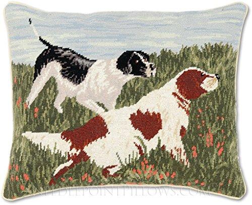 Handmade 100% Wool Needlepoint Decorative Springer Spaniel Dog Hunting Throw Pillow. 16