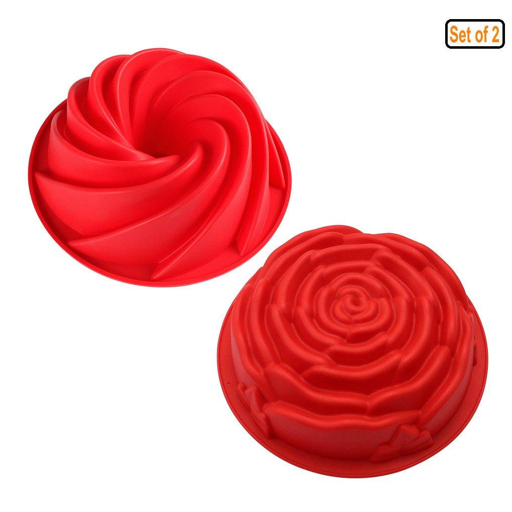 GuDoQi Silicona Pastel Moldes Ciclones Redondos Y Forma De Rosa Resistente Al Calor Antiadherente Bandejas De Horno Para Tartas Caseras Juego De 2: ...