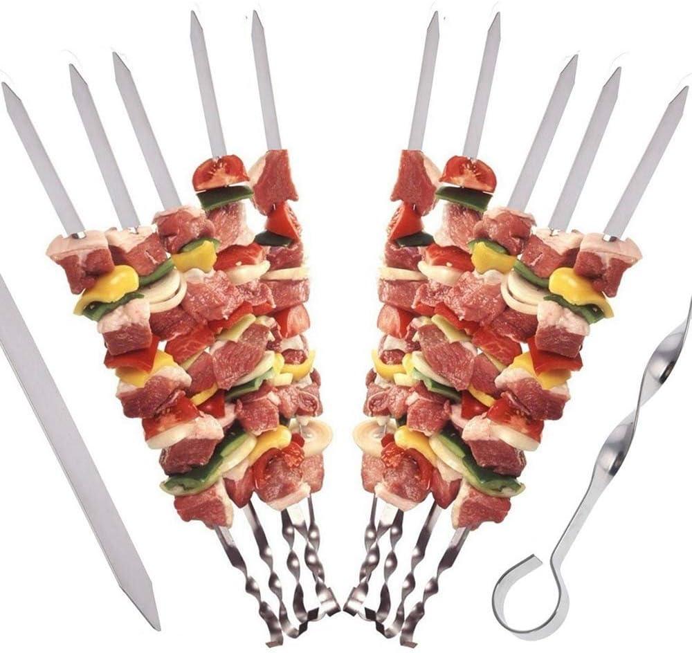 DRSM 10 Unids/Set Aguja de Barbacoa de Acero Inoxidable Brochetas Planas Kebab Barras de Aguja de Barbacoa para Acampar al Aire Libre Picnic Herramientas de Cocina, A