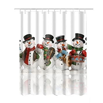 Christmas Shower Curtain,Bathroom Decoration Polyester Fabric Shower  Curtains For Xmas Snowman 71 X 71