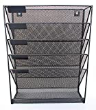 Mesh Metal Wall-Mounted File Shelf and Hanging Document Organizer - Stores Books, Mail, Electronics - Tablets/Cell Phones, Magazines, Teacher and Business Supplies - Hardware Included - Premium