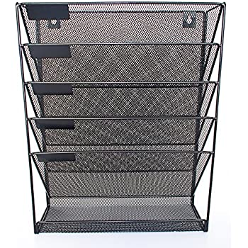 mesh metal wall mounted file shelf and hanging document organizer stores books. Black Bedroom Furniture Sets. Home Design Ideas