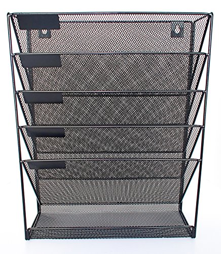 Mesh Metal Wall-Mounted File Shelf and Hanging Document Organizer - Stores Books, Mail, Electronics - Tablets/Cell Phones, Magazines, Teacher and Business Supplies - Hardware Included - - Electronic Organizer Shelves