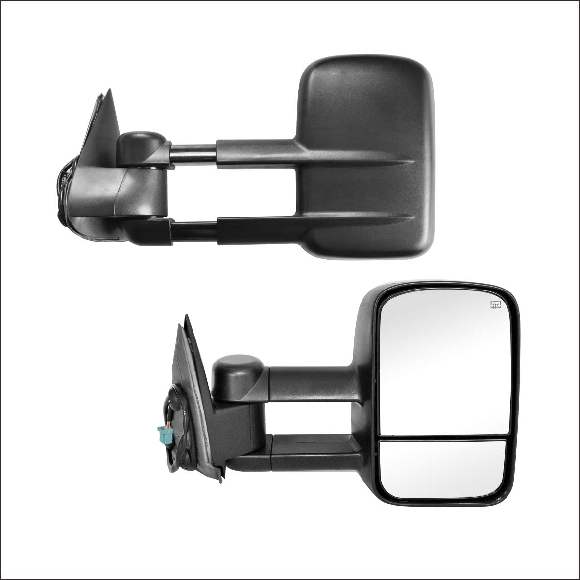 W//O SIGNAL,BLACK PAIR SET Perfit Zone Towing Mirrors Replacement Fit for 2002-2007 CHEVY SILVERADO//GMC SIERRA POWER HEATED
