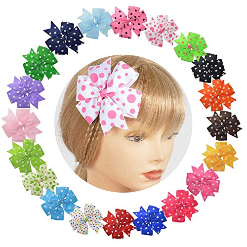 (LCLHB Baby Girl Bow With All-Over Polka Dot Prints And Pinwheel Design 20 Pack)