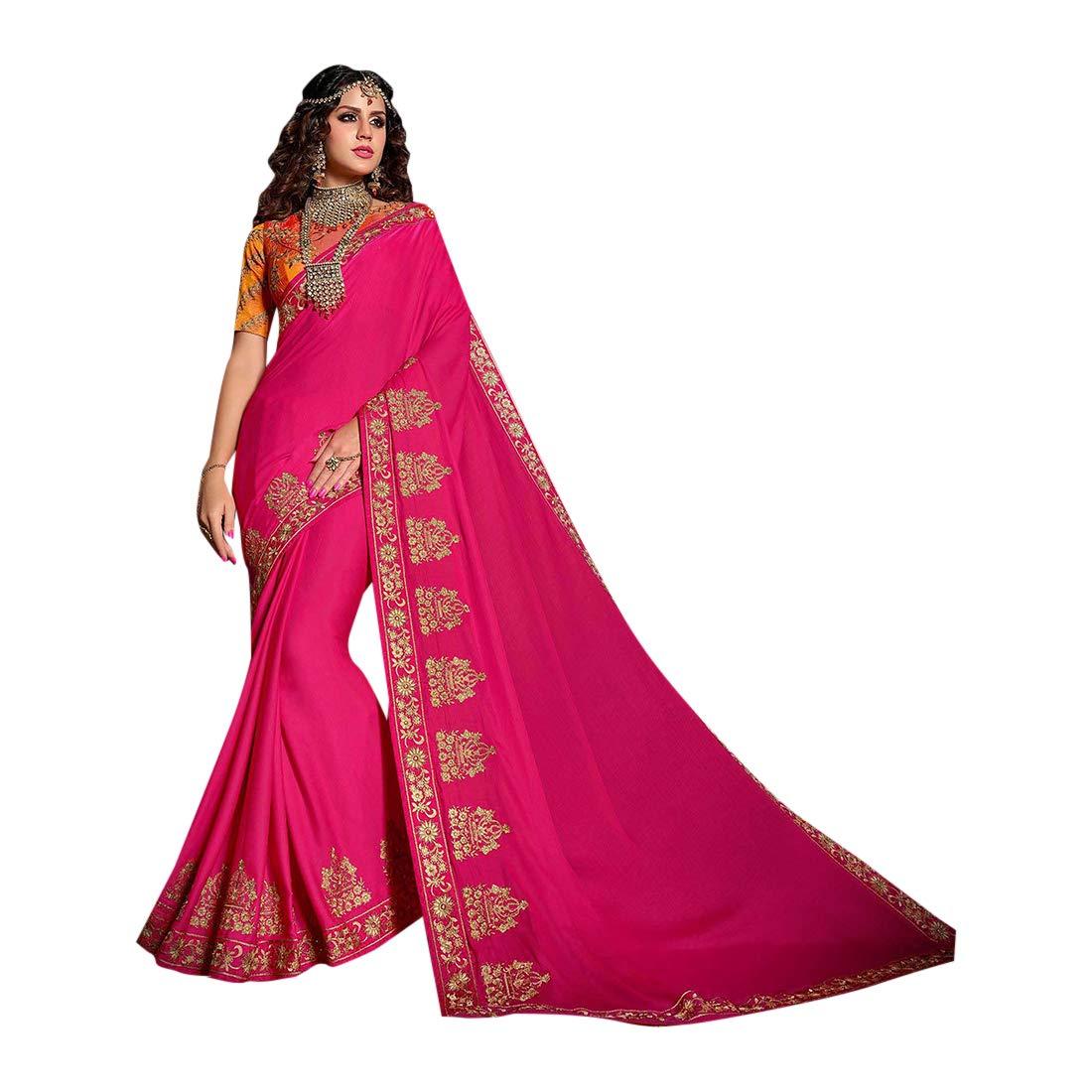 Designer Stylish Resham Silk Saree with Blouse for Women Indian Festive Party wear Sari 7559