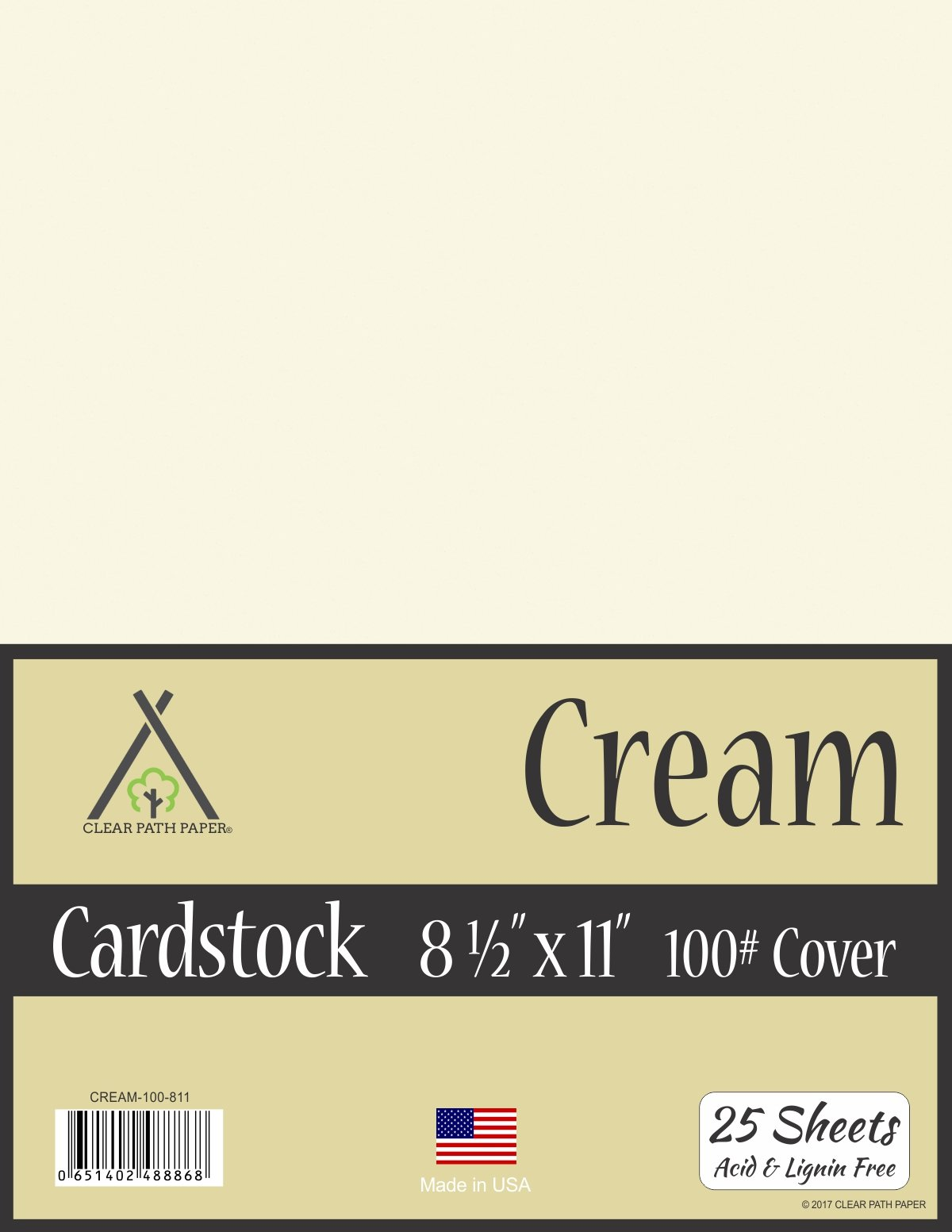 Cream White Cardstock - 8.5 x 11 inch - 100Lb Cover - 25 Sheets