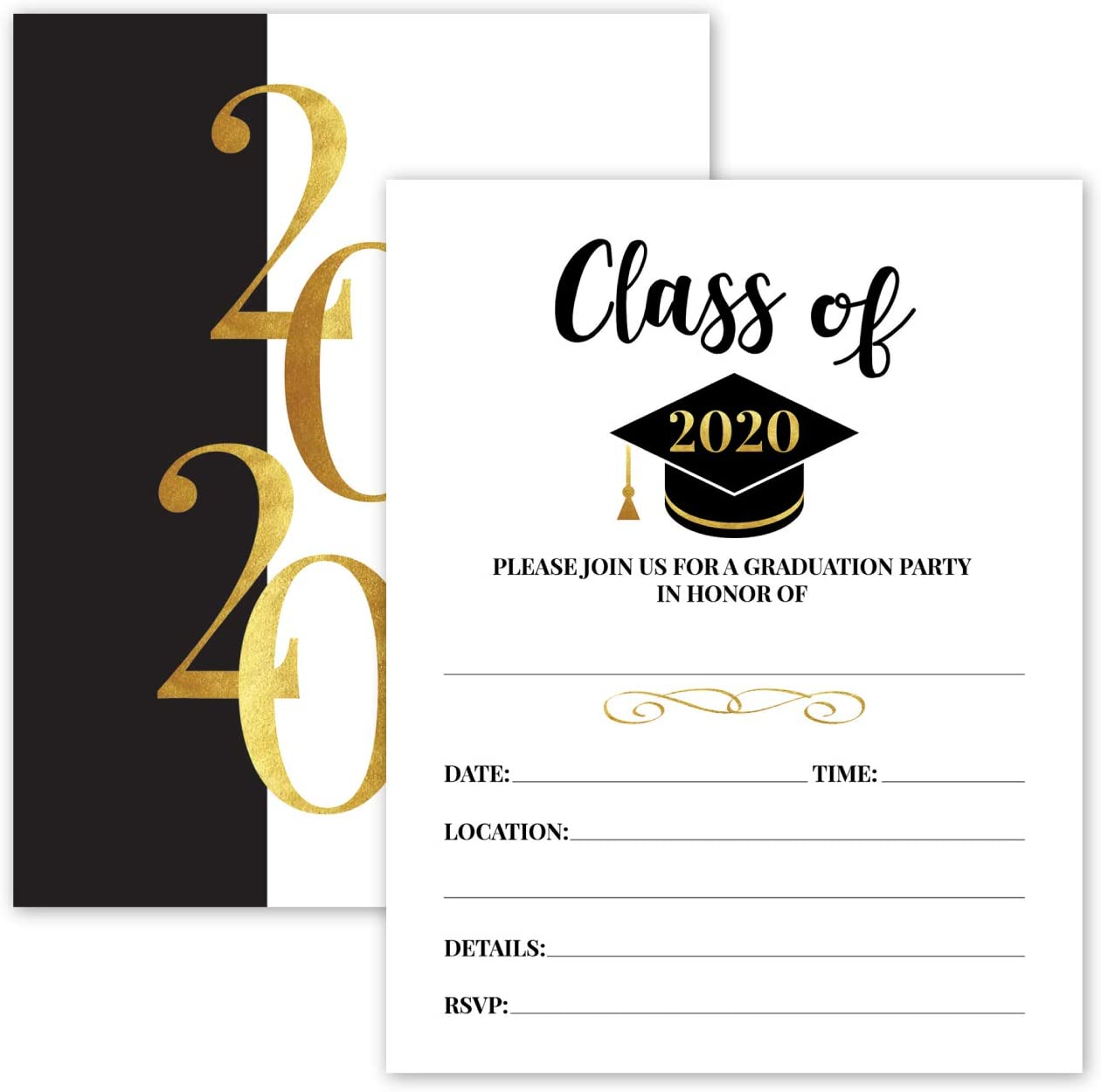 Amazon.com: 25- 2020 Gold & Black Graduation Party Invitations with  Envelopes for 2020 College, High School, University Grad Celebration or  Announcement- Invite Cards Fill In Style- Party Decorations Supplies:  Kitchen & Dining