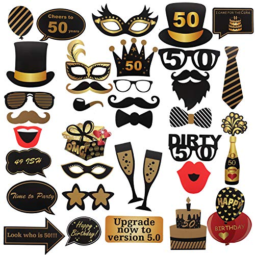 36 Pcs 50th Birthday Photo Booth Props Sign Kit - Cheers To 50 Dress-up Party Selfie Props - Custom Bubbles Talk Decoration