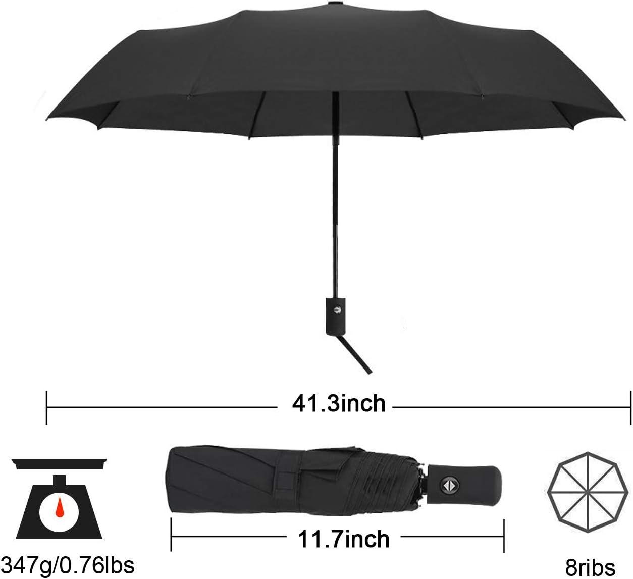 Black Travel Umbrella Auto Open//Close ǀ Windproof ǀ Compact Reinforced ǀ Portable 8 Ribs Construction Umbrella for Men /& Women 11.8 Inch