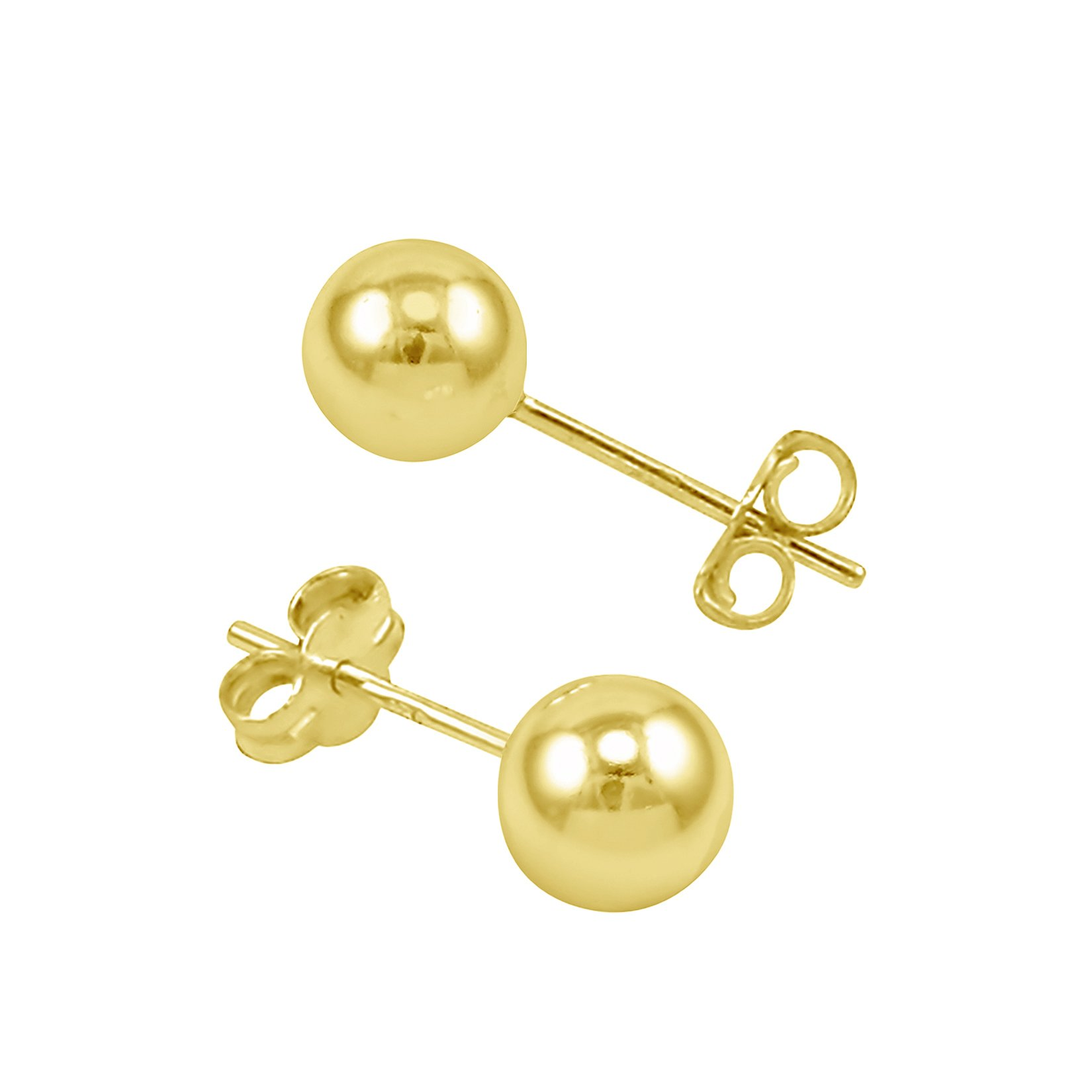 14k High Polished Yellow Gold Ball Stud Earrings With Butterfly & Free Box - 4mm