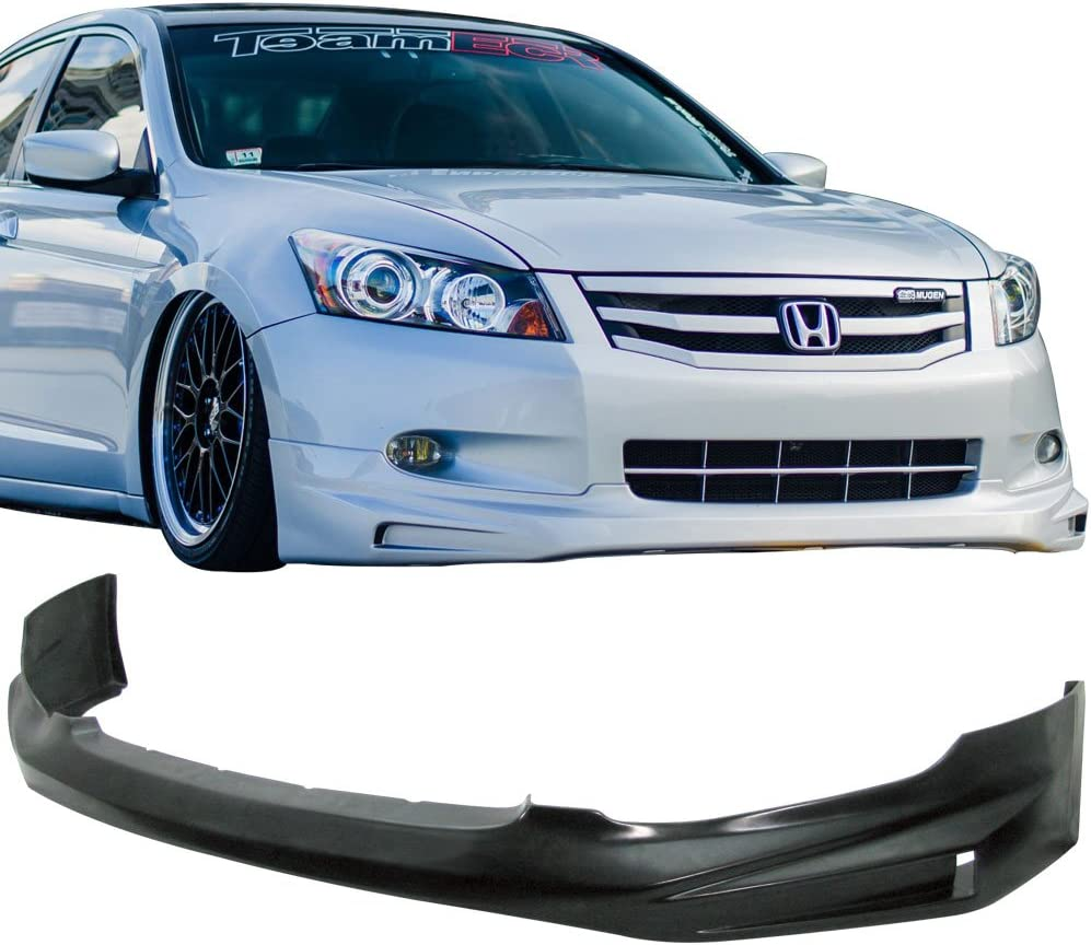 2009 Front Bumper Lip Compatible With 2008-2010 HONDA ACCORD Sedan PU Black Front Lip Spoiler Splitter by IKON MOTORSPORTS