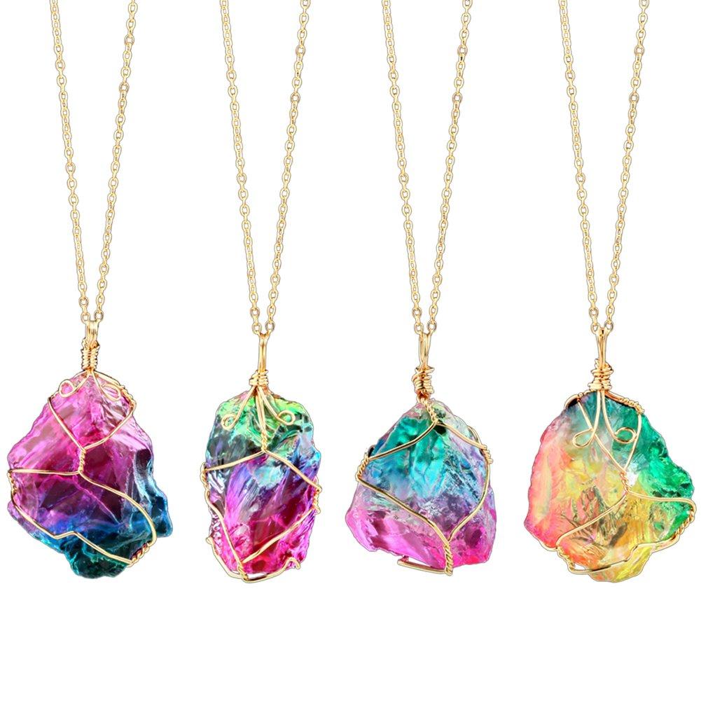 FANSING Jewelry Rainbow Irregular Quartz Stone Pendant Healing Crystal Wire Wrap Gemstone Necklace for Women Gift, 1 PCS FS CAFSSTONE-7red