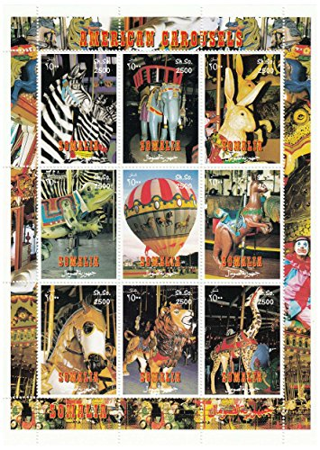 Carousel Hinged - A carousel-themed sheet for collectors, featuring images of American Carousels. Issued by Somalia, the sheet contains 9 images of carousels and animals. Mint never hinged
