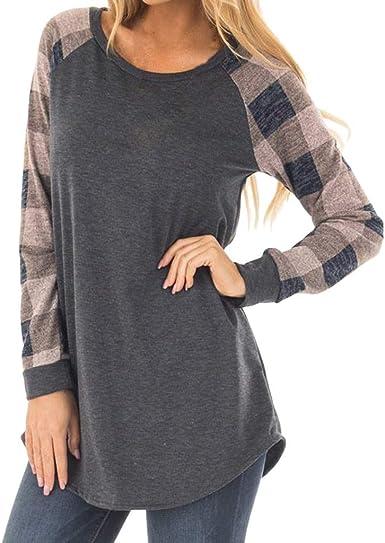 Camisa De Mujer Camiseta De Manga Larga Suéter Algodón Vintage Sudaderas Sueltas Ocasional Camiseta De Punto Túnica Tops Blusa: Amazon.es: Ropa y accesorios