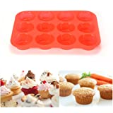 12 Cup Silicone Muffin Pan & Cupcake Baking Pan ,Nonstick,Dishwasher - Microwave Safe,Red Bakeware