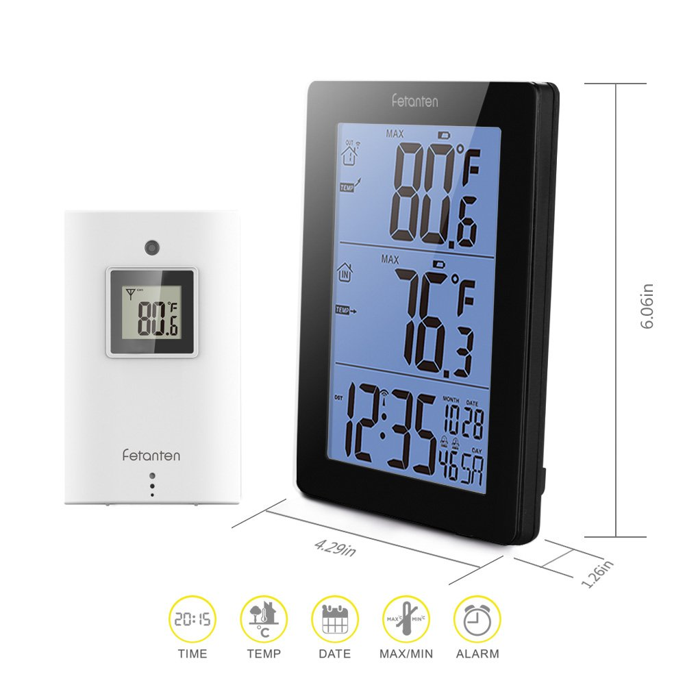 Fetanten Digital Wireless Indoor Outdoor Thermometer, Wireless Clock Calendar Thermometer with 5.7 Inch Weather Station Backlight Large LCD-Display ...