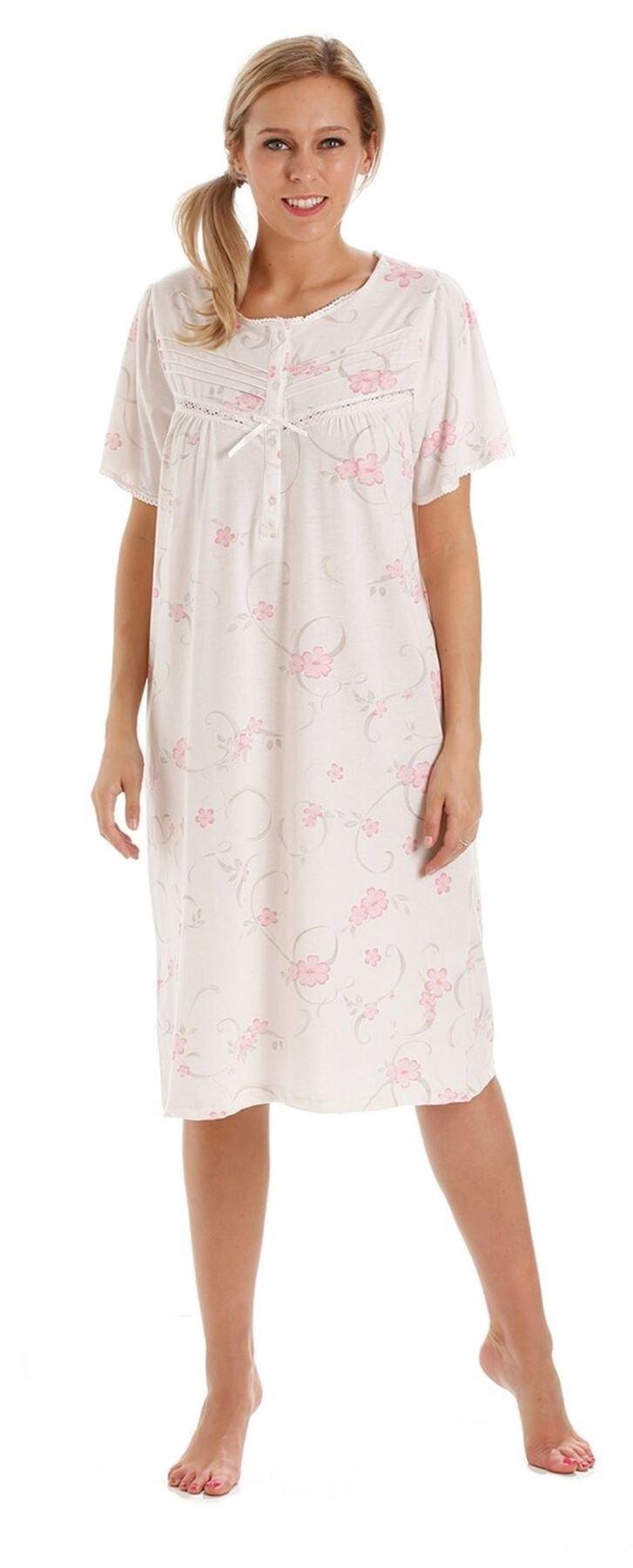 Undercover Womens Poly Cotton Short Sleeve Button Through Nightie Nightdress MN12