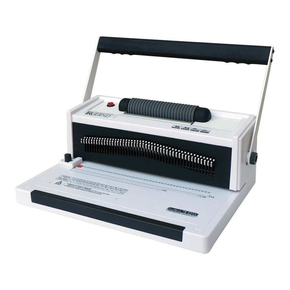 TruBind Coil-Binding Machine - With Electric Coil Inserter - TB-S20A - Professionally Bind Books and Documents - Office or Home Use - Adjustable Hole-Punching and Paper-Size Settings S-20