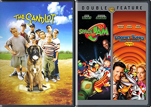 Kids Triple Feature - Looney Tunes Space Jam Sandlot 3-Movie Bundle Back in action baseball basketball Family Fun (Jordan Looney Shoes Tunes)