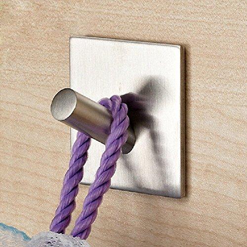 3M Self Adhesive Coat Hooks, Agile-Shop Heavy Duty 304 Stainless Steel Decorative Sticky Wall Mounted Hook Hats Keys Hooks for Bathroom Kitchen, Brushed Finish (1 pcs Single Hook)