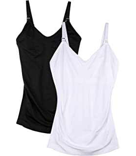 6f4855abbea47 Seamless Padded Nursing Tank Tops for Women Breastfeeding Maternity  Camisole Bra Pack of 2