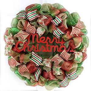 Merry Christmas Wreath | Mesh Christmas Outdoor Front Door Wreath | Red Jute Emerald Green Burlap 96